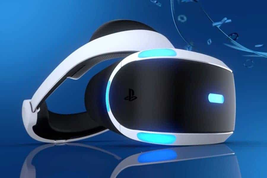 Playstation VR Headset on a Blue Background