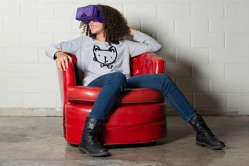 Woman Wearing Merge VR - Virtual Reality Headset for iPhone and Android