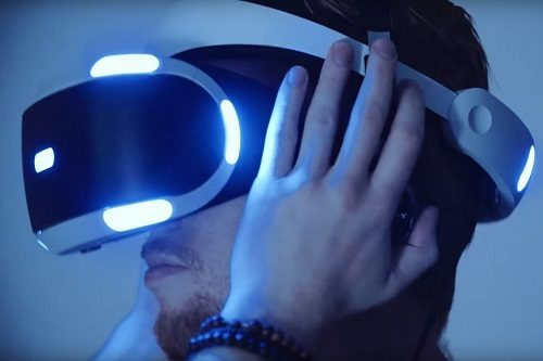 Man with Playstation VR Headset On